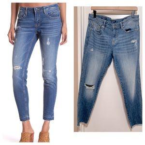 Vigoss Chelsea Skinny Raw Hem Medium Wash Jeans 31
